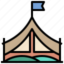 camping, flag, forest, holidays, nature, tent, tree icon