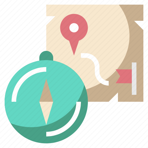 camping, compass, gps, location, map, navigation, travel icon