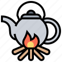 boiled, camping, fire, pot, water icon