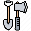 axe, construction, digging, tool