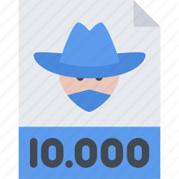 bandit, bandits, cowboy, wanted, wild west icon