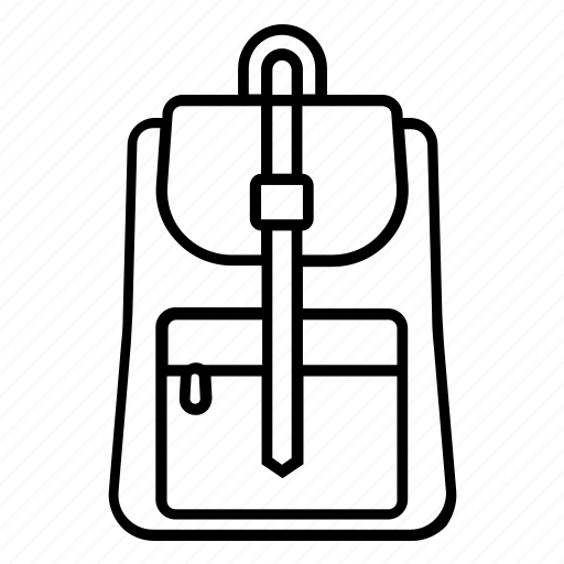 backpack, bag, knapsack, leather, tourist, travel, zip icon