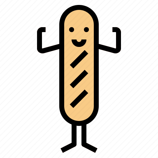 baguette, bread, food, supermarket icon