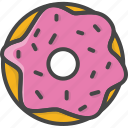 bakery, donut, doughnut, filled, food, outline, pastry icon