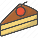 bakery, cherry, filled, food, pastry, pie, slice icon