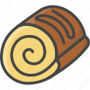bakery, filled, food, outline, pastry, roll, sweet icon