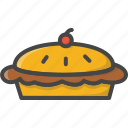 bakery, cherry, filled, food, outline, pastry, pie icon