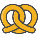 bakery, filled, food, outline, pastry, pretzel icon