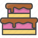 bakery, birthday, cake, filled, food, outline, pastry icon