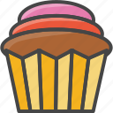 bakery, cupcakepastry, filled, food, outline icon