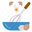 cooking, eggs, flour, mix, mixing icon
