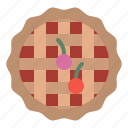 bakery, cake, cherry, dessert, pie icon