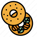 bagel, baker, bakery, breakfast, meal icon