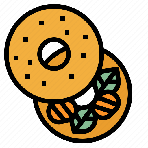 bagel, baker, bakery, breakfast, meal icon
