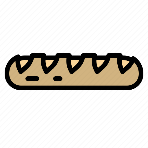 baguette, bakery, breads, foods, meal icon