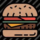bun, burger, fast, food, hamburger