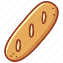 baguette, bakery, breakfast, cooking, food, french bread, gun icon