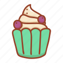 dessert, cupcake, sweet, food, bakery, blueberry, tast icon