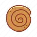 bakery, cinnamon roll, doodle, food, pastry, sweet, tasty icon