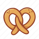 bakery, dessert, doodle, food, kitchen, pretzel, tasty icon