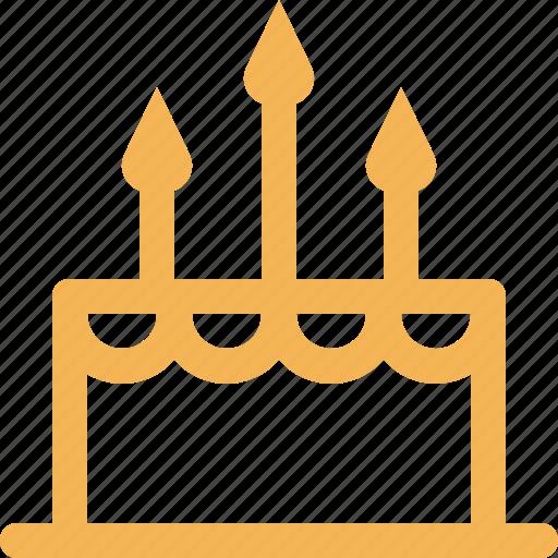anniversary, bakery, birthday, cake, celebration, food, outline icon
