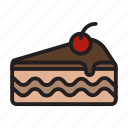 bakery, breakfast, cake, dessert, layer cake, piece, piece of cake icon