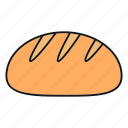 baking, bread, bread loaf, food, pastry, white bread icon