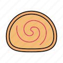 bakery, cake, dessert, jelly roll, sponge cake, swiss roll icon