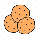 bakery, biscuit, chocolate chip, confectionery, cookie, dessert, pastry icon