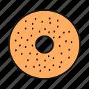bagel, bakery, beigel, bread, bun, donut, doughnut