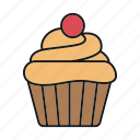 bakery, cake, confectionery, cupcake, dessert, muffin, pastry icon