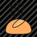 bake, bakery, bread, bun, dinner roll, dough, food