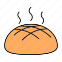 bakery, bread, bread loaf, food, fresh, hot, rye icon