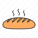 bakery, bread, bread loaf, food, fresh, hot, long loaf icon