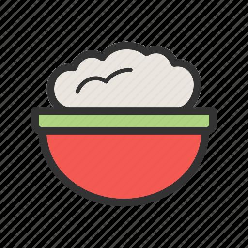 bowl, flour, food, ingredient, pot, powder, wheat icon