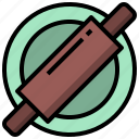 and, kitchen, kitchenware, pin, rolling, tools, utensils icon
