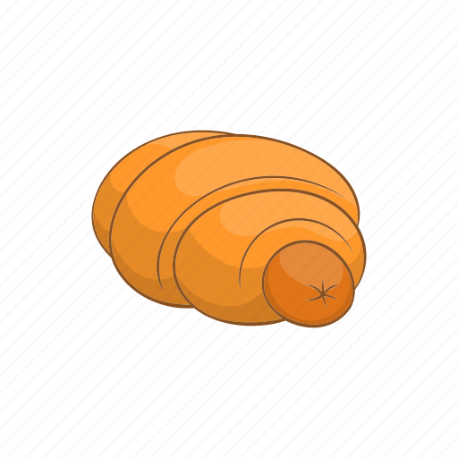 baked, cartoon, food, meat, roll, sausage, snack icon