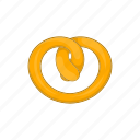 bread, cartoon, eat, food, pretzel, salty, snack icon