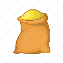 agriculture, bag, burlap, cartoon, flour, sack, wheat icon