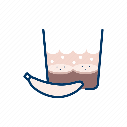 banana, banoffee, cream, dessert, glass icon