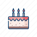 bakery, birthday cake, candles, celebration, dessert icon