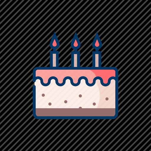 bakery, birthday cake, candles, celebration, dessert icon