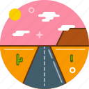desert, locations, road, sunset, trip icon