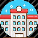 hospital, medical center, medicine icon