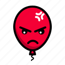 angry, baloon, emoticon, resentfull icon