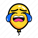 baloon, cry, emoticon, sad icon