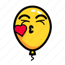 baloon, emoticon, kiss, love icon