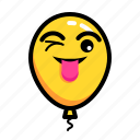baloon, emoticon, happy, joke, mock, smile icon