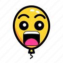 baloon, emoticon, scare, shock icon