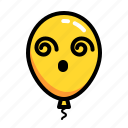 baloon, confuse, dying, emoticon, headache icon